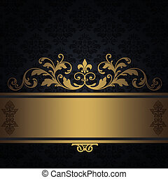 årgång, svart fond, guld, border.