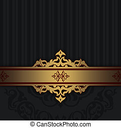 årgång, svart, guld, bakgrund.
