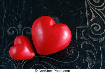 årgång, svart, två, bakgrund, hjärtan