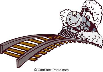 årgång, tåg, tecknad film, designa