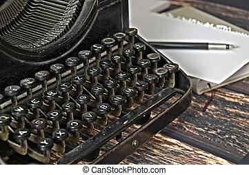 årgång, tangentbord, av, skrift, maskin, med, penna