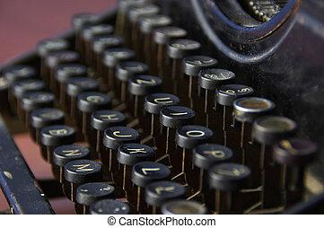 årgång, tangentbord, av, skrift, maskin
