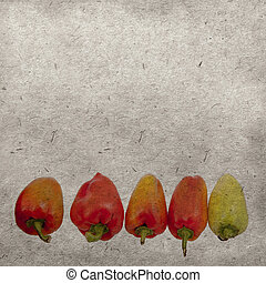 årgång, tapet, bakgrund, med, röda och gula, pepprar