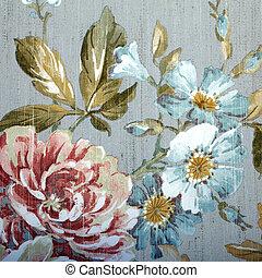 årgång, tapet, med, blom- mönstra