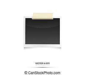 årgång, tom, foto, frame., vektor, illustration, på, white.