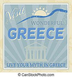 årgång, touristic, -, affisch, grekland