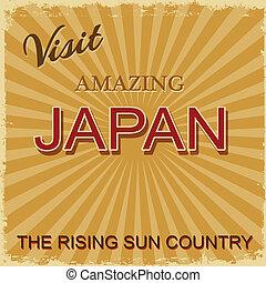 årgång, touristic, -, affisch, japan
