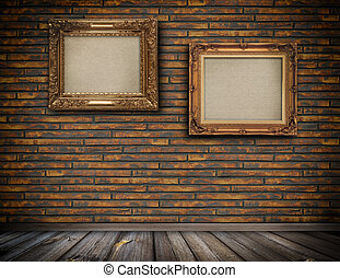 årgång, trä, inramar, på, a, wall.