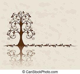 årgång, träd, bakgrund, openwork
