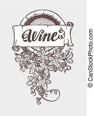 årgång, trumma, vektor, winemaking, vin