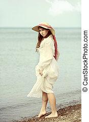 årgång, ung dam, stranden