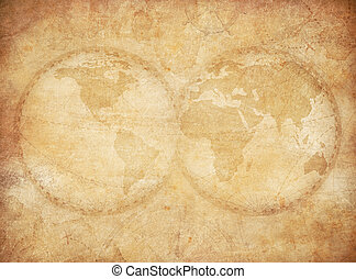 Årgång, värld, gammal, bakgrund, karta