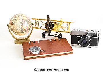 årgång, värld res, blogger, objekt, vita, bakgrund