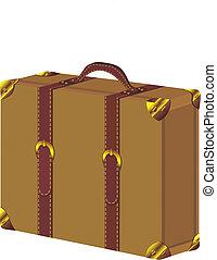 årgång, vektor, gammal, resväska