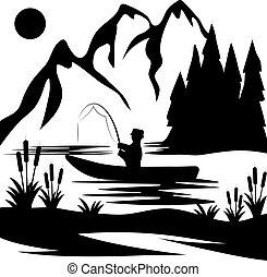 årgång, vektor, illustration, av, fiske, tema