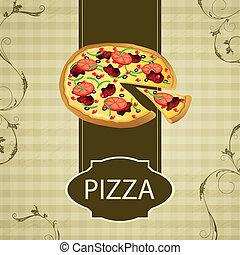 årgång, vektor, pizza, kort, meny