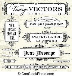 årgång, vektor, sätta, etikett