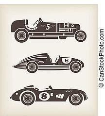 årgång, vektor, sport, biltävlingar bilar