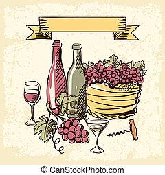 årgång vin, oavgjord, illustration., hand