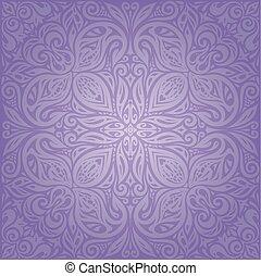 årgång, violett, design, fond mönstra, blommig