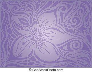 årgång, violett, seamless, blomningen, fond mönstra, blommig