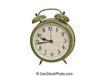 årgång, vit, isolerat, bakgrund, klocka