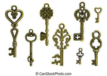 årgång, vit, nyckel, bakgrund
