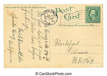 årgång, vykort, med, skrift