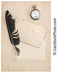 Årgång, Vykort, vit, isolerat, papper
