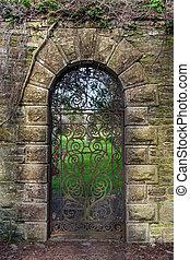 århundrade, georgiansk, järn grind, dekorerad, 15