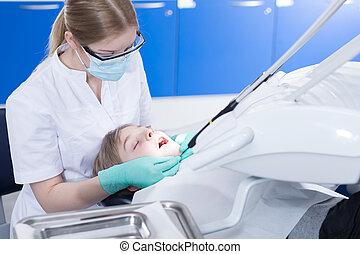 årlig, checkup, hos, a, tand ämbete