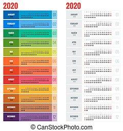 årlig, vecka, planläggare, vägg, startar, year., vektor, 2020, sunday., mall, tryck, design, kalender, template.