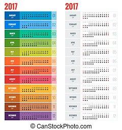 årlig, vecka, planläggare, vägg, startar, year., vektor, design, sunday., mall, tryck, 2017, kalender, template.