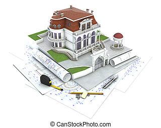 åskådliggörande, hus, design, arkitektur, framsteg, teckning