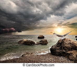åskväder, över, hav