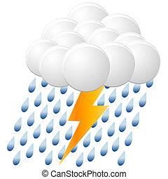 åskväder, regna, ikon