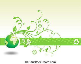 återanvända, blommig, abstrakt, klot, illustration
