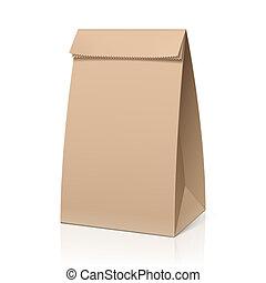 återanvända, brun papperspåse