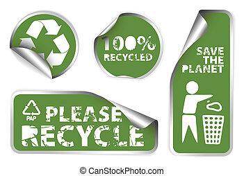 återanvända, grön, etiketter, sätta