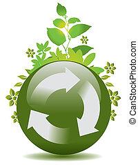 återanvända, klot, grön, symbol