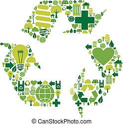 återanvända, miljöbetingad, symbol, ikonen