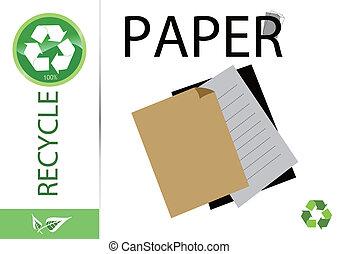återanvända, papper, behaga