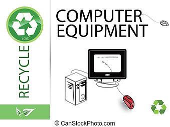 återanvända, utrustning, dator, behaga