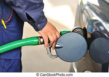 återfylla, bil, hand, bensinstation, drivmedel, manlig