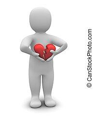 återgäldat, heart., isolerat, illustration, bruten, white., 3, man