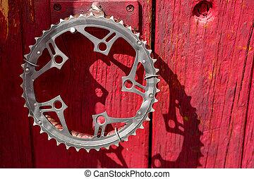 återvinn, cykel, vev, som, dörr hantera