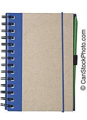 återvinn, papper, anteckningsbok, gjord