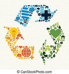 återvinn symbol, grön, ikonen
