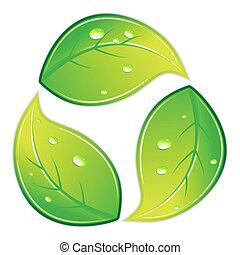 återvinn symbol, lövad