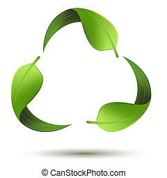 återvinn symbol, med, blad